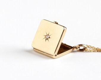 Sale - Antique 10k Rosy Yellow Gold Diamond Victorian Locket Necklace - Vintage 1900s Edwardian Star Fob MWG Monogram Fine Photo Jewelry