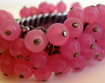 Vintage 50s Pink Glass Bead Silver Stretch Noisy Bracelet