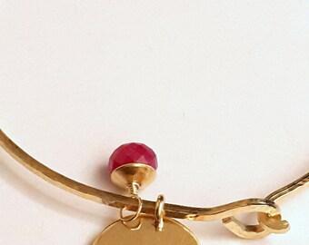 Charmed Bracelet - Personalized Bangle Bracelet - Birthstone and Initial Disc Charm Bracelet - Minimalist Jewelry