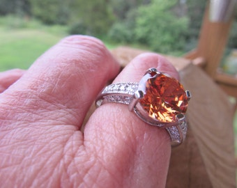Sale Gorgeous 925 Sterlng Ring Chocolate Tangerine CZ Center Stone White CZ Accent Stne