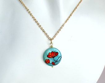 Red flower necklace, flower pendant painted by hand, floral jewelry, sale jewelry