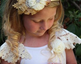 Vintage ivory tan gold  headband- lace, satin, hard headband, ready to ship headband,  flower girl,photo prop, any size
