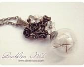 Dandelion necklace, glass orb necklace, dandelion pendant, glass bottle necklace, dandelion globe necklace vial, romantic necklace