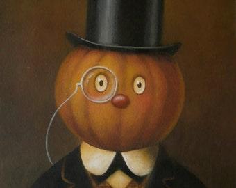 Pumpkin Print - Halloween Print - Jack O Lantern - Halloween Art - Gothic - Victorian -  Pumpkin Head