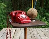 Retro Ruby Red Vintage Rotary Phone