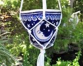 Moon and Stars Hanging Planter - ceramic