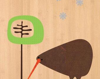 """Native NZ Kiwi Print on Bamboo Veneer in White 11x14"""" Mat"""
