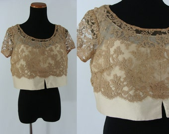 Vintage Sixties Top - 1960s Lace Blouse - 60s Beige Cropped Top with Illusion Neckline