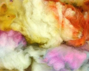 Hand Dyed Cormo COATED Wool Locks Spinning and Felting Fiber - Shower