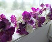 Wedding bouquet ~ 8 piece set ~ Lavender white calla lily orchid bridesmaid bouquets, groomsmen boutonnieres