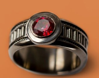 Black Personalized Ring For Man With Red Topaz Sterling Silver Wedding Foe Him