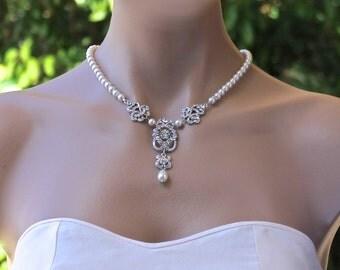 Deco Pearl Bridal Necklace, Vintage Bridal Jewelry, Pearl Bridal Jewelry, SASS