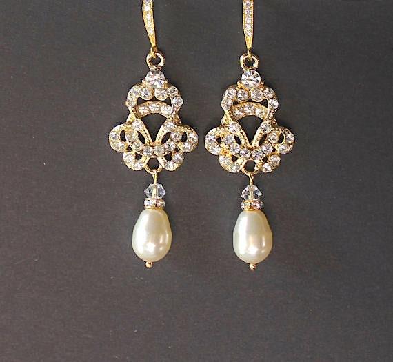 Gold Vintage Wedding Earrings Gold Pearl Drop Earring Bridal