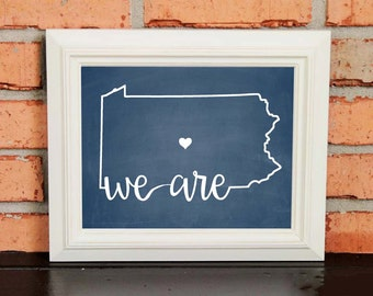 College Pride - Penn State Artwork - We Are... Penn State - Penn State - Blue and White - Man Cave Artwork - College Decor