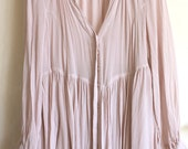 Pale pink dress tunic, vintage clothing, georgette dress
