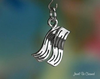 Sterling Silver Bacon Charm Yummy Fried Meat Breakfast Food Solid .925