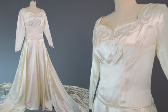Classic Wedding Dress Satin: 1940s Trained Satin Wedding Dress / Vintage Bridal