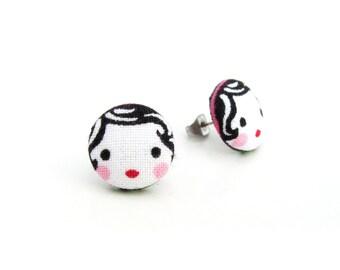 Cute stud earrings - tiny fabric earrings - button earrings - kawaii girl earrings - matryoshka doll babushka - present for her