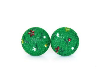 Green button earrings - green stud earrings - floral fabric covered earrings - yellow red white flower - nickel free