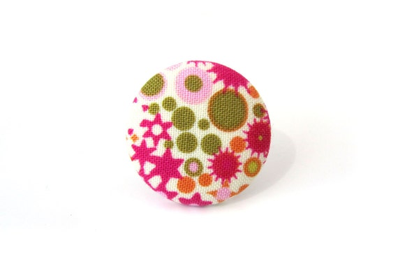 Pink fabric ring - pink button ring - large funky ring - big statement ring white green bright adjustable size