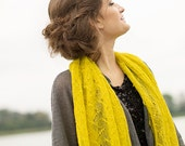 Linen Mustard Shawl Boho Scarf Lace Misted Yellow Scarf Saffron Wrap Knitted Linen Stole Sheer Lace Shawl