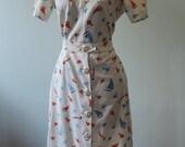 Cute Vintage 1940s Novelty print skirt set, Fish & Sailboats skirt and top