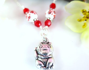Good fortune cat sterling silver necklace, Chinese new year cat red ceramic flower necklace, Japanese lucky silver cat