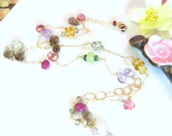 Bohemian chic rainbow precious stone gold filled high quality necklace, Christmas gift rainbow stones boho chic long gold chain necklace