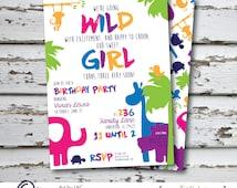 Girl Safari Birthday Party Invitation | Customized | Printable or Printed | Front and Back | Hippopotomas | Giraffe | Elephant | Turtle