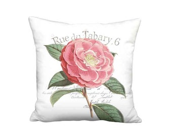 Pillow Cover - Pillow - Camellia Rouge French Cottage Vintage Coral Pink Flower Pillow - 16x 18x 20x 22x 24x 26x Inch Linen Cushion Cover