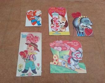 Vintage valentine's day cards set of 5! valentines