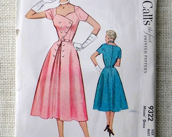 Vintage Pattern McCall's 9322 1950s Rockabilly surplice dress new look full skirt Bust 30 sweetheart neckline double breasted Uncut Pinup