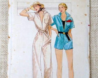 Vintage sewing pattern Butterick 4769 Jumpsuit Trouser suit Bust 38 Romper One piece Romper 1970s coveralls