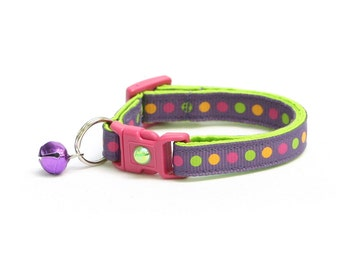 Polka Dot Cat Collar - Colorful Dots on Plum - Breakaway Cat Collar - Kitten or Large size