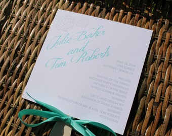 Seashell Beach Wedding Fan Programs Front And Back Sides Fully Customized