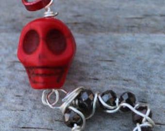 Red Sugar Skull Zipper Pull Charm