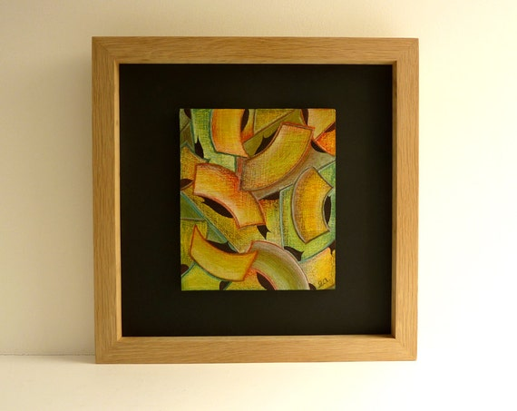 Original colorful painting, framed wood wall art – wood paintings, bright colours