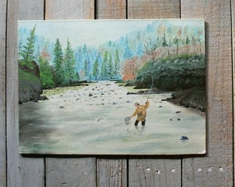 Vintage Fall Fishing Painting
