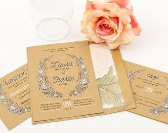 Rustic Wedding Invitation Suite, SAMPLE SET - Wreath Wedding Invitation Country Wedding