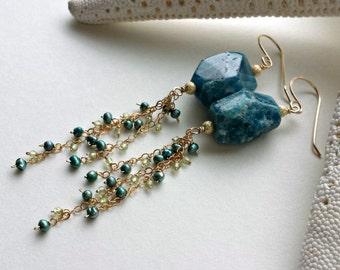 Large Apatite Dangle Earrings, Blue Apatite Earrings, Long Apatite Earrings, Blue Green Gemstone Dangle, Teal Earrings: Ready to Ship