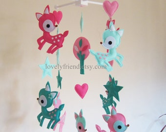 Customize Baby Mobile - Pink and Turquoise Deers Theme Nursery Crib Mobile - Beautiful Long Deer Baby Mobile  (Choose your color)