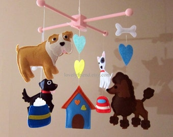 Customize Baby Mobile - Bulldog and Bull Terrier Theme Nursery Crib Mobile - Cute Poodle Hanging Baby Mobile  (Choose your color)