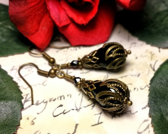 Black Victorian Earrings, Jet Teardrop Crystal Drops, Antique Gold Brass Filigree Titanic Temptations Vintage Steampunk Bridal Style Jewelry