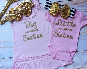 Big Sister Little Sister Matching Dress and Onesie (headbands not included)