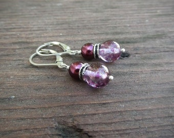 Maroon Swarovski Crystal Pearl with Purple Speckled Glass Earrings  by Quintessential Arts