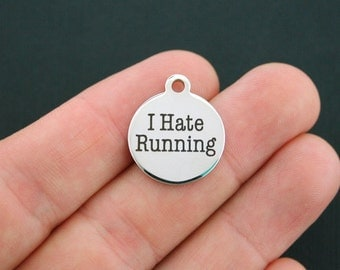 Running Charm Polished Stainless Steel - I hate running - Exclusive Line - Quantity Options  - BFS179