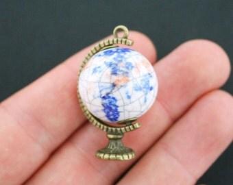 1 Globe Charm Antique Bronze Tone and Ceramic Gorgeous 3D Detail - BC484
