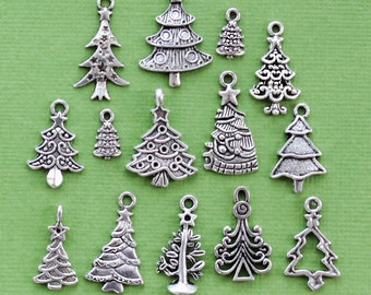 Christmas Tree Charm Collection Antique Silver Tone The Ultimate 14 Different Charms - COL271