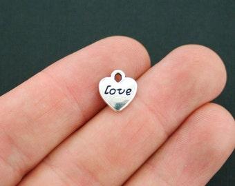 12 Love Heart Charms Antique Silver Tone - SC176
