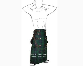 Interchangeable Utility Kilt Full Length Black Watch Fleece Lined & Conchos Adjustable Custom Fit with Large Expanding Cargo Pockets